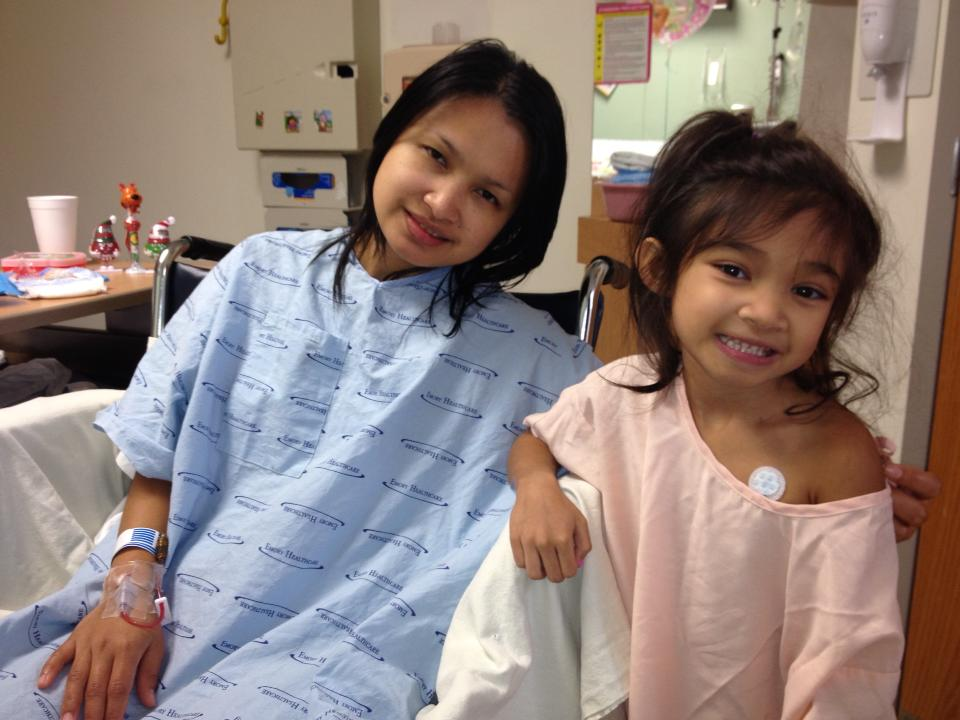 Angelica and mom recovering after surgery.